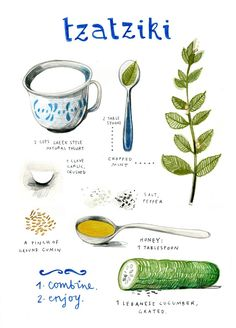 Tzatziki by felicita sala illustration - Really nice, clean illustrated recipe. Tzatziki by feli Tzatziki Recipes, Salsa Tzatziki, Homemade Tzatziki Sauce, Natural Yogurt, Cooking Recipes, Healthy Recipes, Healthy Food, Healthy Drinks, Vegetarian Recipes