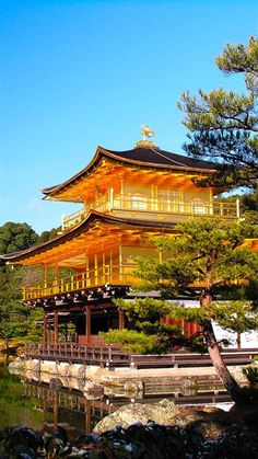 Kinkakuji, the Symbolic Golden Architecture in Kyoto ༺ ♠ ŦƶȠ ♠ ༻ Kinkakuji (Temple of the Golden Pavilion), officially named Rokuonji (Deer Garden Temple), is a famous Zen Buddhist temple in Kyoto Japanese Temple Tattoo, Temple Of The Golden Pavilion, Beautiful World, Beautiful Places, Japon Tokyo, Kobe Japan, Japan Landscape, Japanese Architecture, Tourist Spots