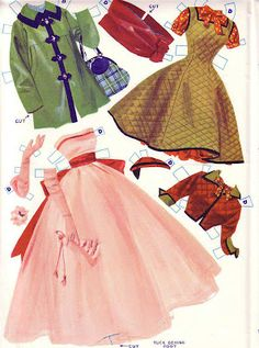 Early 1950s Pink Prom* 1500 free paper dolls at Arielle Gabriel's International Paper Doll Society for Pinterest paper doll pals *