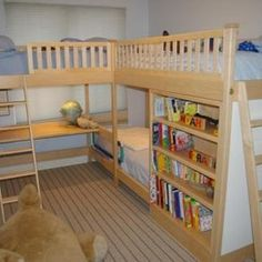 Children's Triple Bunk Bed with Desk and Storage by Codfish Park Design llc