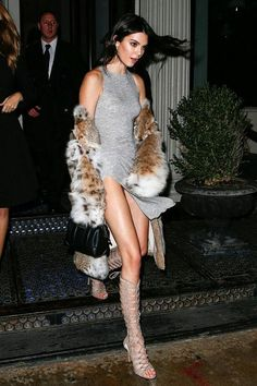 Kendall Jenner wearing Givenchy Lucrezia Micro Bag, Kendall + Kylie Emily Lace Up Sandals and Lilly E Violetta Nicoletta Lynx Fur Coat