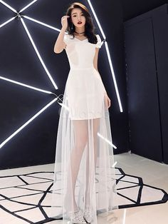 White Prom Dresses Long Illusion Short Sleeve Formal Party Dress - White Dresses - Ideas of White Dresses Modest Dresses, Sexy Dresses, Beautiful Dresses, Dress Outfits, Nice Dresses, Evening Dresses, Fashion Dresses, Prom Dresses, Formal Dresses
