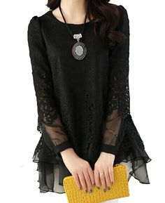shop for Korean Sweet Loose Lace Patchwork Long Sleeve Blouse and more for everyday cheap prices at Lalalilo.com - Your Online Womens Clothes Store