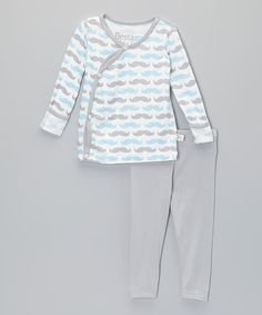 Look at this Blue Mustache Fold-Over Top & Leggings - Infant on #zulily today!