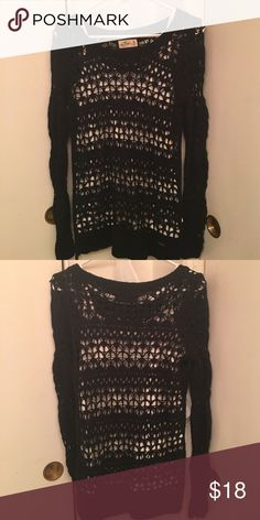 Hollister Knit Top Navy blue Hollister knot long sleeve top. White tank top not included. Great when layering clothes Hollister Tops Tees - Long Sleeve
