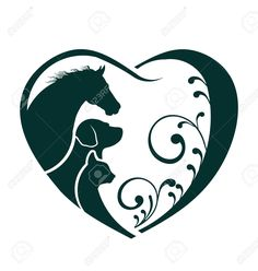 Vector Horse, Dog and Cat love heart Stock Vector