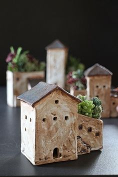Sweet little house pot planters - want to try as a tall french townhouse with crazy roof garden
