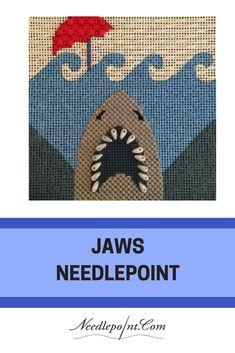 A jaws needlepoint coaster canvas by Melissa Prince Needlepoint Designs, Needlepoint Stitches, Needlepoint Canvases, Needlework, Reindeer Ornaments, Christmas Ornaments, Halloween Canvas, Prince, Creative Artwork