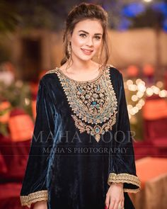 Image may contain: 1 person, standing and text Shadi Dresses, Pakistani Formal Dresses, Pakistani Dress Design, Formal Dresses For Weddings, Velvet Pakistani Dress, Romantic Weddings, Pakistani Fashion Party Wear, Pakistani Wedding Outfits, Muslim Fashion