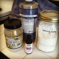 DIY Shampoo: with castile soap and baking soda1/3 c castile soap, such as Dr. Bronner's) 1/3-2/3 c water (depending on how soapy you want it, I tend toward the lower end) 2 t. baking soda  1tsp. coconut oil, melted 5-15 drops essential oil, if desired