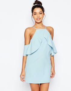 ASOS Cold Shoulder Ruffle Crepe Mini Dress - Shop for women's Dress - Baby blue Short Dresses, Summer Dresses, Asos Dress, Ruffle Dress, Trendy Outfits, Party Dress, Fashion Dresses, Cold Shoulder Dress, Clothes