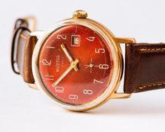 Vintage men's watch Vostok gold plated mechanical wrist watch brick red face wristwatch on Etsy, $72.00
