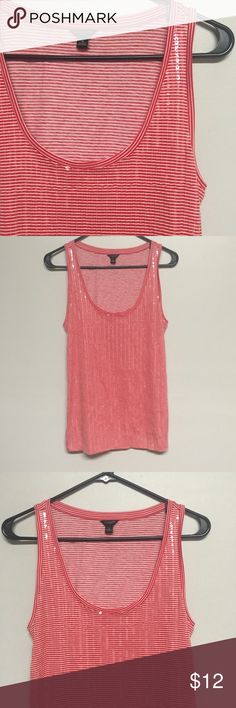 Ann Taylor Red & White Striped Sequin Tank So pretty yet simple red and white sequin tank. Sequins are in the front. Perfect with a pair of jeans. Add to a bundle for a great discount. Make An Offer!! Ann Taylor Tops Tank Tops
