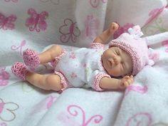 """OOAK Prosculpt polymer clay newborn baby girl sculpt art doll 5"""" BIN NO RESERVE!"""