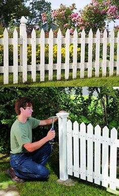 Welcome to Ideas of DIY Classic White Picket Fence article. In this post, you'll enjoy a picture of DIY Classic White Picket Fence design . Fenced Vegetable Garden, Diy Garden Fence, Backyard Fences, Pool Fence, Fence Design, Garden Design, Unique Garden, Building A Fence, Front Yard Fence