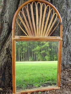 Vintage large Mirror,bamboo mirror,boho decor,1960-70s, wood mirror, on Etsy, $210.00