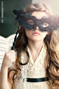 Masque love this ruffled black lace hand held mask