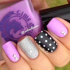 Lavendairy, dots and studs skittle mani - #mani #cuteforeaster