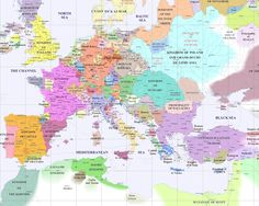 """For all the posts complaining about """"border gore""""- here's what a political map of medieval Europe actually looked like. European History, World History, Family History, Medieval, Travel Around Europe, Backpacking Europe, Traveling Europe, Travelling Tips, European Vacation"""