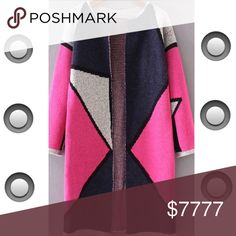 ".....PINK COLOR BLOCK LONG CARDI Oh Yes! It's collarless too. The color block pattern is so beautiful on this piece. Pink, navy, grey with a black out line. So chic! Throw this on for errands or a quick lunch date. 35.5"" length. 37.5"" bust. 19"" shoulder. 18.5"" sleeve length. A great transition piece. -No trades. 51Twenty Sweaters Cardigans"