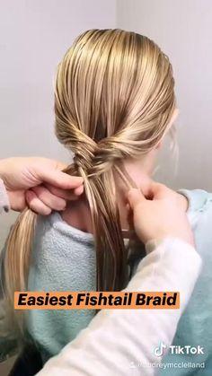 Work Hairstyles, Braided Hairstyles Tutorials, Easy Fishtail Braid, Hair Tips Video, Aesthetic Hair, Bad Hair Day, Hair Dos, Hair Hacks, Hair Beauty