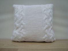 Knitting Pillow White Pillow Home Decor by GreenCatStudio on Etsy