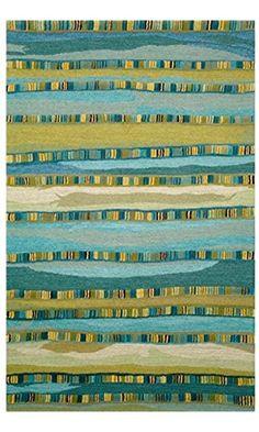 Liora Manne Seville Mosaic Stripe Hand Tufted Rug, 8 by 10-Feet, Blue Best Price