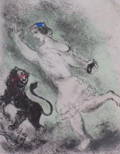 Marc Chagall (1887 - 1985) - 1956, David and the Lion. Etching with Hand Coloring in Watercolor. 53.5 x 39 cm