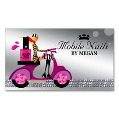 Make a terrific first impression with this Nail Salon Scooter Girl Fashion Business Card Blon. Customise this design as your own just in minutes. Fashion Business Cards, Salon Business Cards, Artist Business Cards, Business Card Design, Mobile Nail Salon, Mobile Nails, Pink Nail Salon, Electric Scooter For Kids, Nail Logo