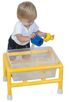 """Lightweight , low profile tub tables for tactile experience with sand, water, rice, grains or myriad shapes, textures and viscosities. Each tub is 16""""l x 11.5"""" w x 6.75""""h with its own snap on lid. Easily removable for emptying or replenishing. Sized right for new walkers thru 23 months. Easy assembly (no tools required) with anti-slip heavy-duty rubber floor protectors."""