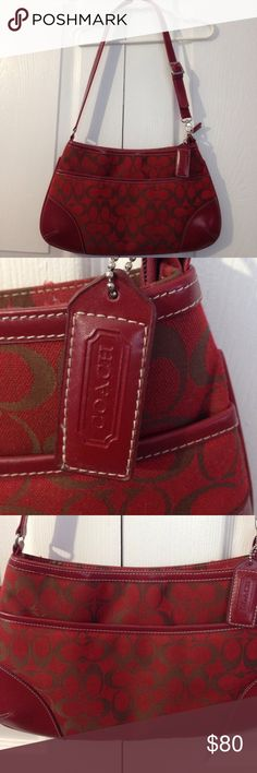 Coach red logo bag! Pretty bag! Coach red logo bag! Used bag. Bought it at Macy's. Very nice and clean inside and out. No wear or tear. Coach Bags Shoulder Bags