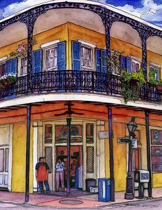 John Boles   WATERCOLOR               127 French Quarter Corner Grocery