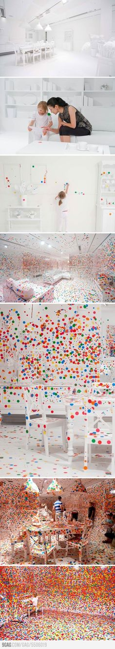 Art done by Yaoi Kusama where she invites anyone to join in this creation. This is what happens when you give kids thousands of stickers