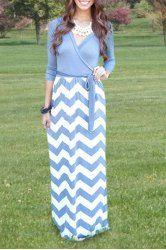 Casual V-Neck Long Sleeve Chevron Printed Self-Tie Maxi Dress For Women