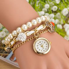 Fashion Pearl Beads Anchor Tassel Bracelet Watch