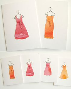 Imagine each of your bridesmaids receiving a handmade thank-you card with a beautiful silhouette of their dress, cut from watercolour wash paper. Such an adorable idea! Designed by Leslie Lewis Sigler of Lilly & Louise.