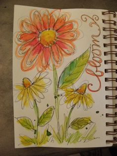 loosely sketched and painted flowers