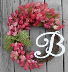 Pink Mini Tulip Grapevine Wreath with your choice of monogram!  Available in several sizes with many choices of ribbon!