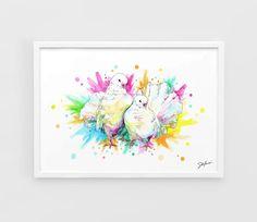 Pigeons wedding Animals  A3 Art Prints of the Original by NazarArt, $15.00