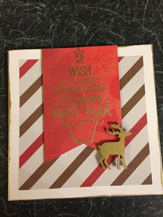 Holiday card making: Handmade Christmas card featuring patterned paper, gold embossing and embellishments. Holiday Cards, Christmas Cards, Stick Figures, Uplifting Quotes, Handmade Christmas, Embellishments, Spiritual, Card Making, Butterfly