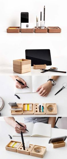 Pen Stand Holder Wooden Smart Phone Dock Storage Desktop Accessories Set