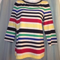 Talbots strips tunic top Pretty strips top, multi colored. 3/4 sleeves Talbots Tops Tunics