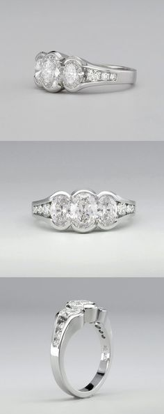The Schooner Three Stone Oval Diamond Engagement Ring in Platinum