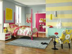 Little girls room. Hot pink headboard. mostly neutral walls with horizontal stripe