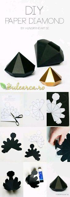 Creează-ti propriul diamant din hârtie sau carton în doar 5 minute, tutorial inclus