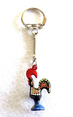 Portugal Galo de Barcelos Rooster of Luck Metal Key Chain Ring Keychain Keyring