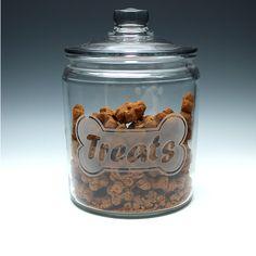 Engraved Glass Dog Treat Jar.