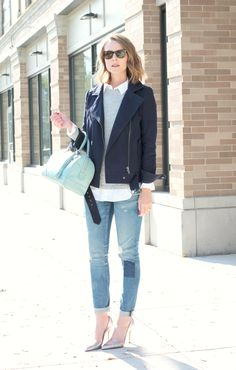 c1cf44c31b A navy moto jacket and mint bag combine to great a fresh fall color combo!