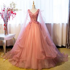 Luxury Appliqued Puffy Long Prom Dress,Princess Ball Gown Prom Dresses,Princess Evening Gown · fashiondressee · Online Store Powered by Storenvy Princess Prom Dresses, Princess Ball Gowns, V Neck Prom Dresses, Ball Gowns Prom, Homecoming Dresses, Ball Gowns Fantasy, Ball Dresses, Quinceanera Dresses, Long Formal Gowns