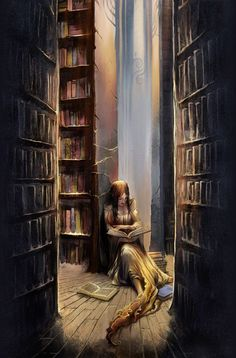 A girl reading in a library.